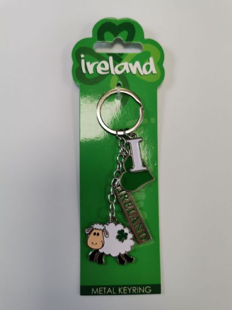 I Love Ireland Sheep Metal Keyring - 4 Charms